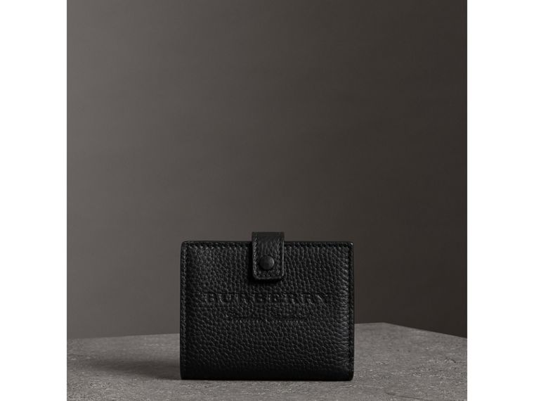 Embossed Leather Folding Wallet in Black - Women | Burberry - cell image 4