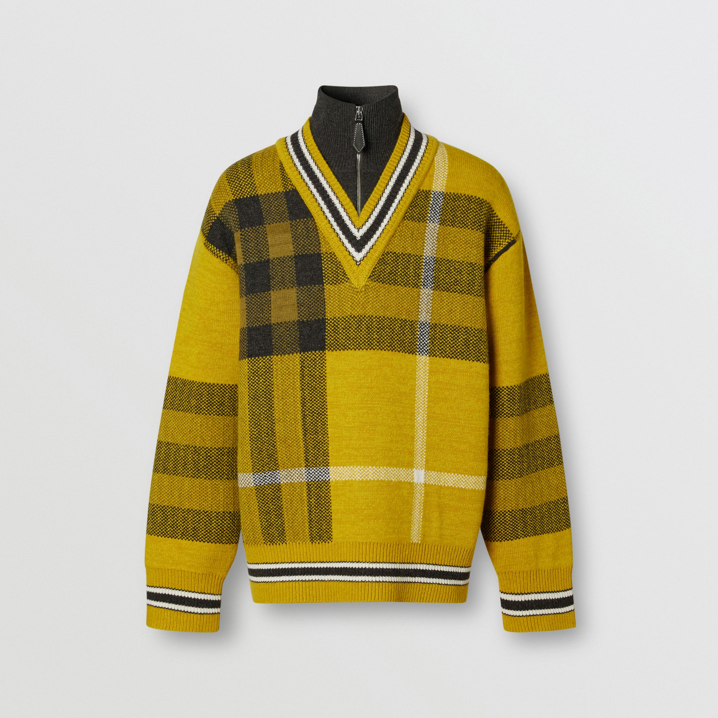 Check Wool Cashmere Jacquard Sweater in Bright Yellow - Men | Burberry - 4