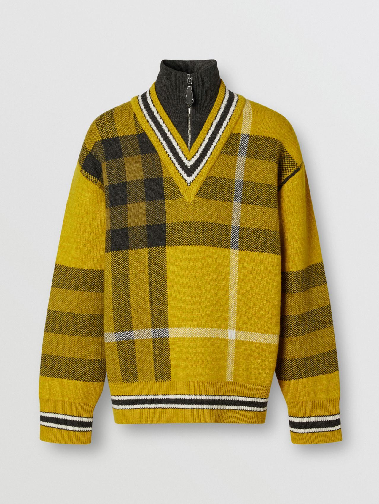 Check Wool Cashmere Jacquard Sweater in Bright Yellow