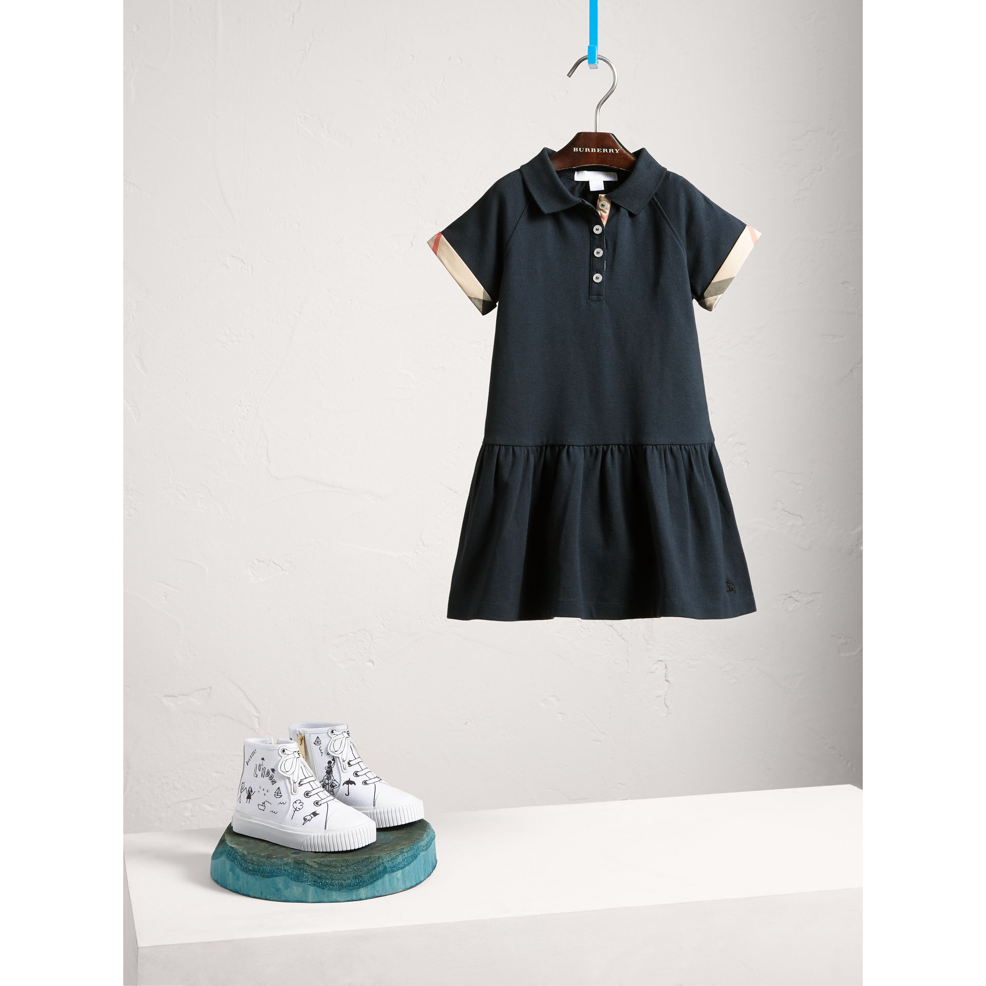 Dropped-waist Stretch Cotton Piqué Dress in Navy - Girl | Burberry - gallery image 1