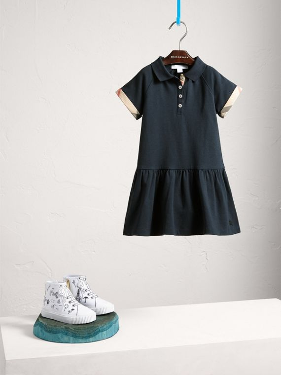 Dropped-waist Stretch Cotton Piqué Dress in Navy