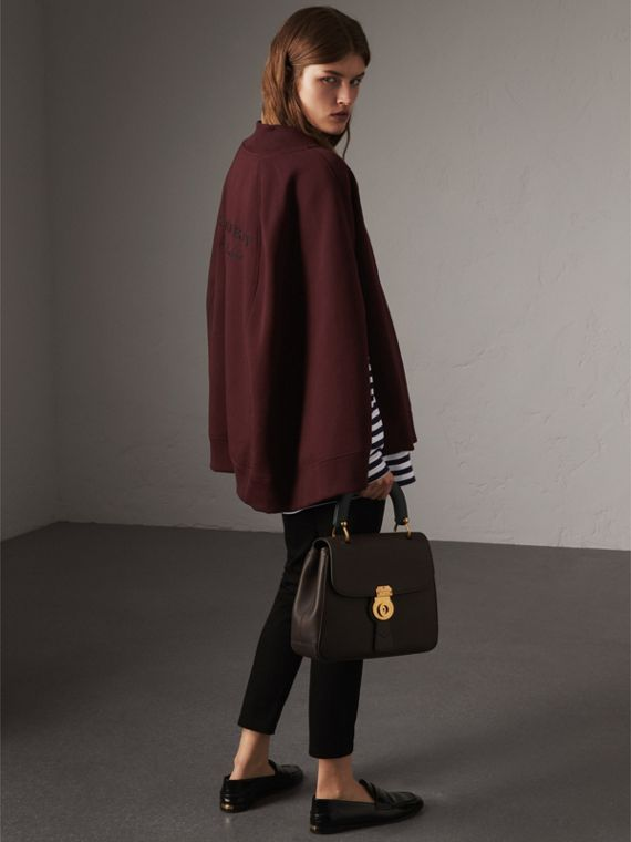 Embroidered Jersey Cape in Deep Claret