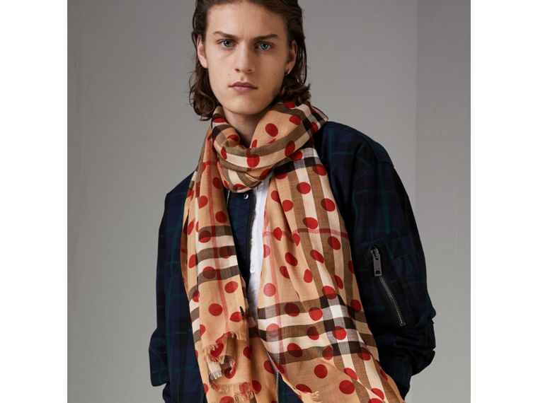 Spot Print and Check Lightweight Wool Silk Scarf in Military Red - Women | Burberry - cell image 4