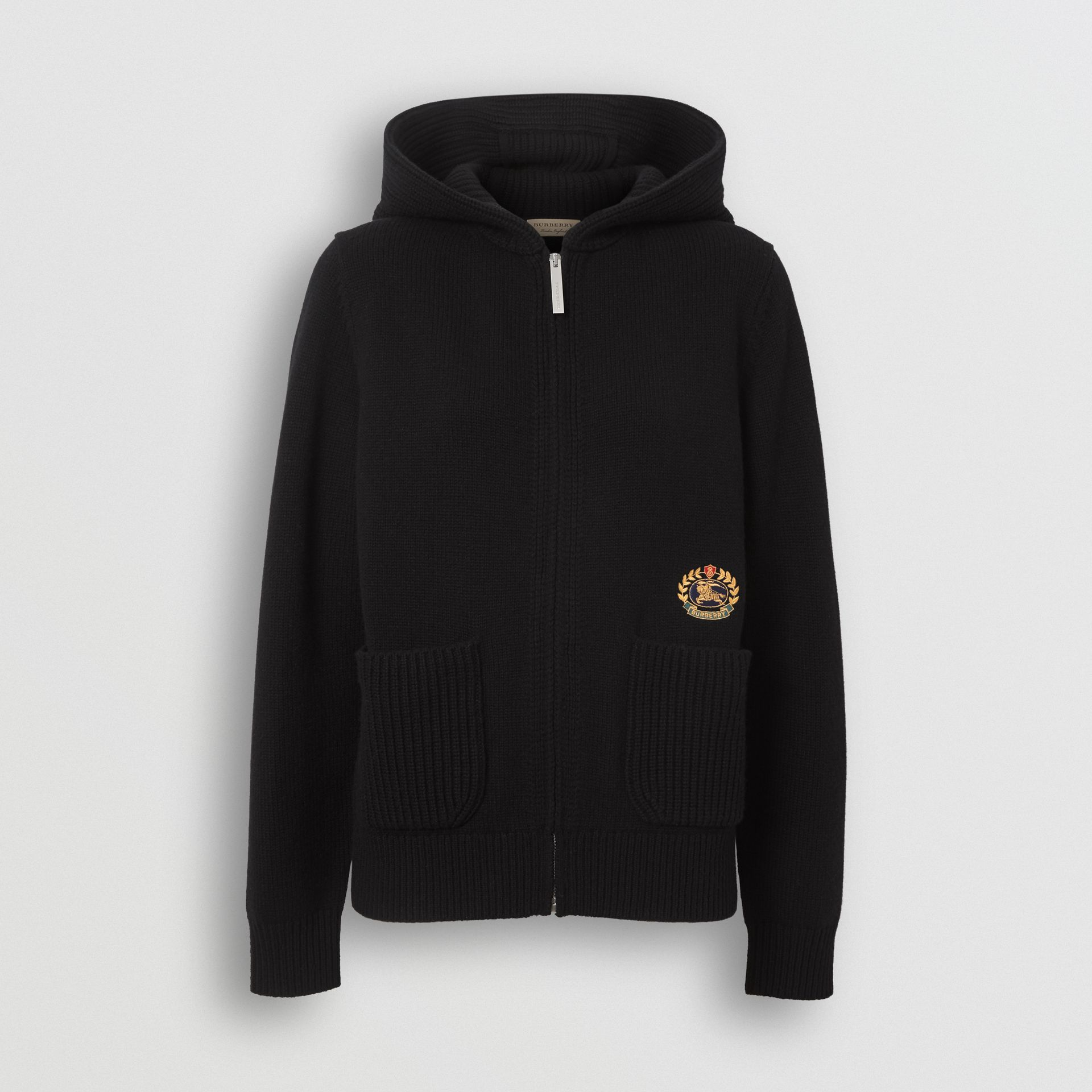 Embroidered Crest Cashmere Hooded Top in Black - Women | Burberry Australia - gallery image 3