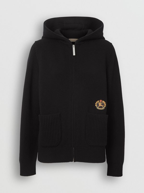 Embroidered Crest Cashmere Hooded Top in Black - Women | Burberry - cell image 3