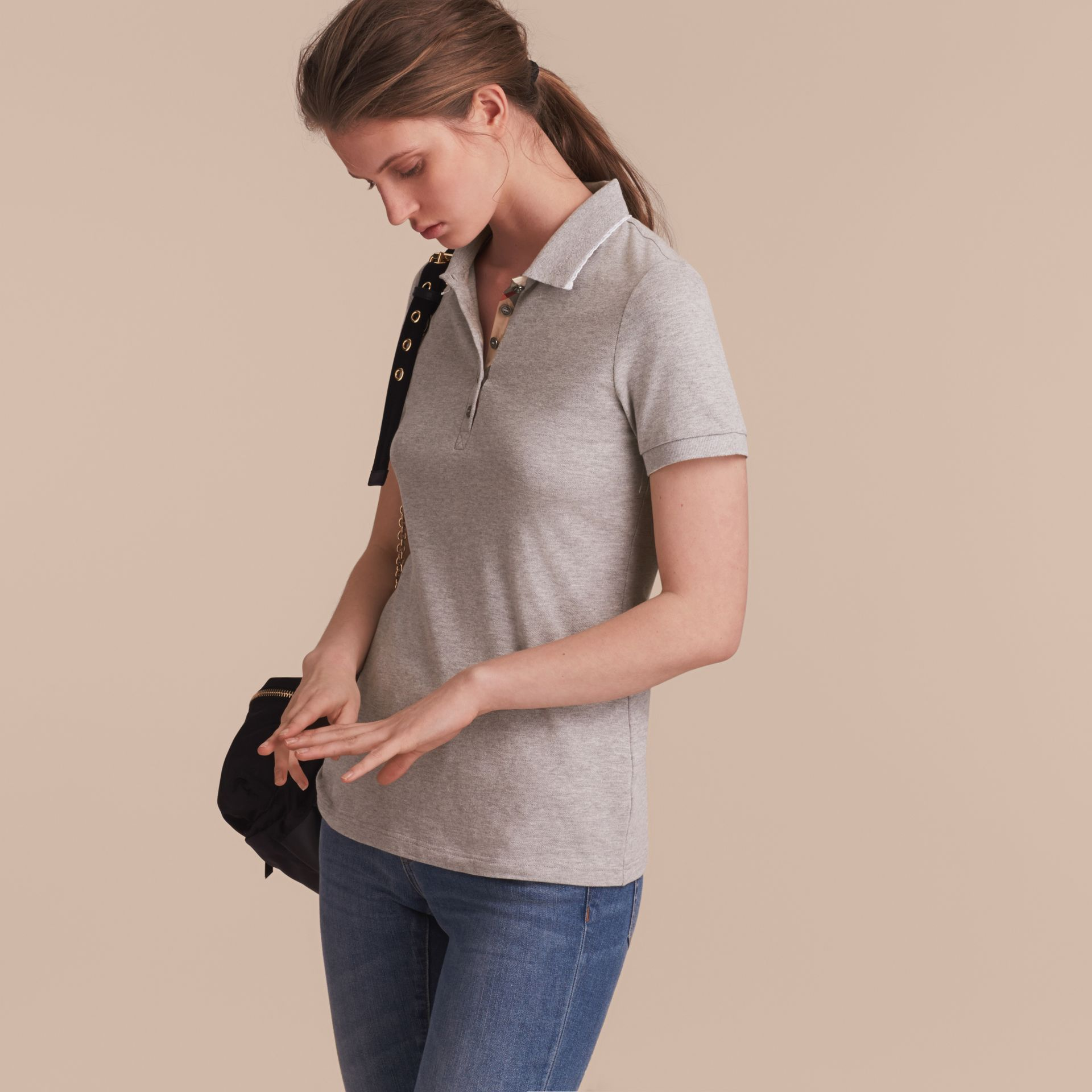 Lace Trim Cotton Blend Polo Shirt with Check Detail in Pale Grey Melange - Women | Burberry - gallery image 6