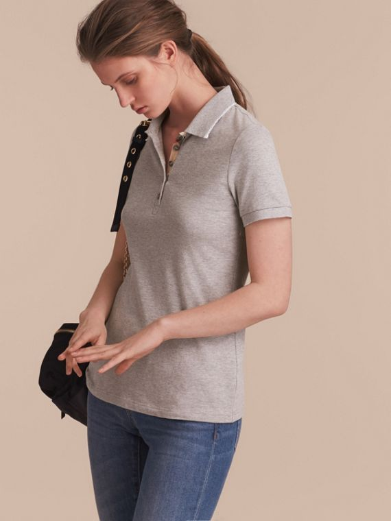 Lace Trim Cotton Blend Polo Shirt with Check Detail