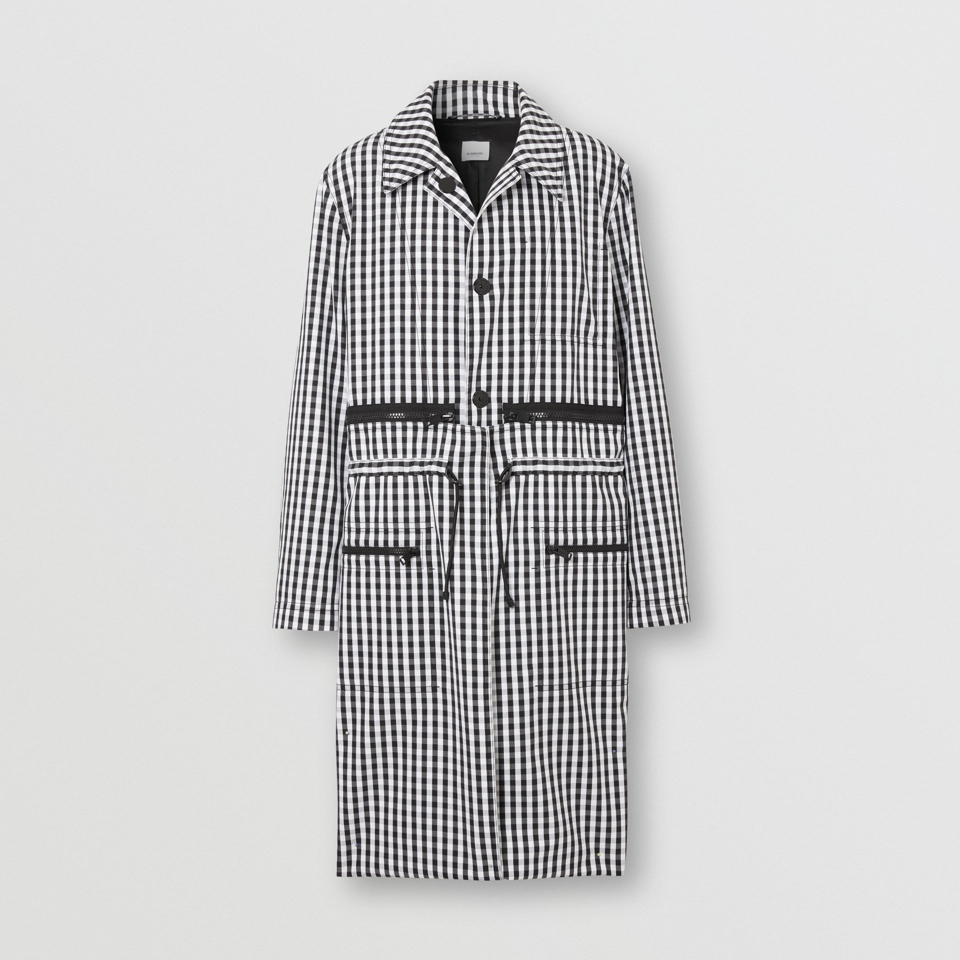 Gingham Technical Wool Loop-back Car Coat in Black | Burberry - gallery image 3