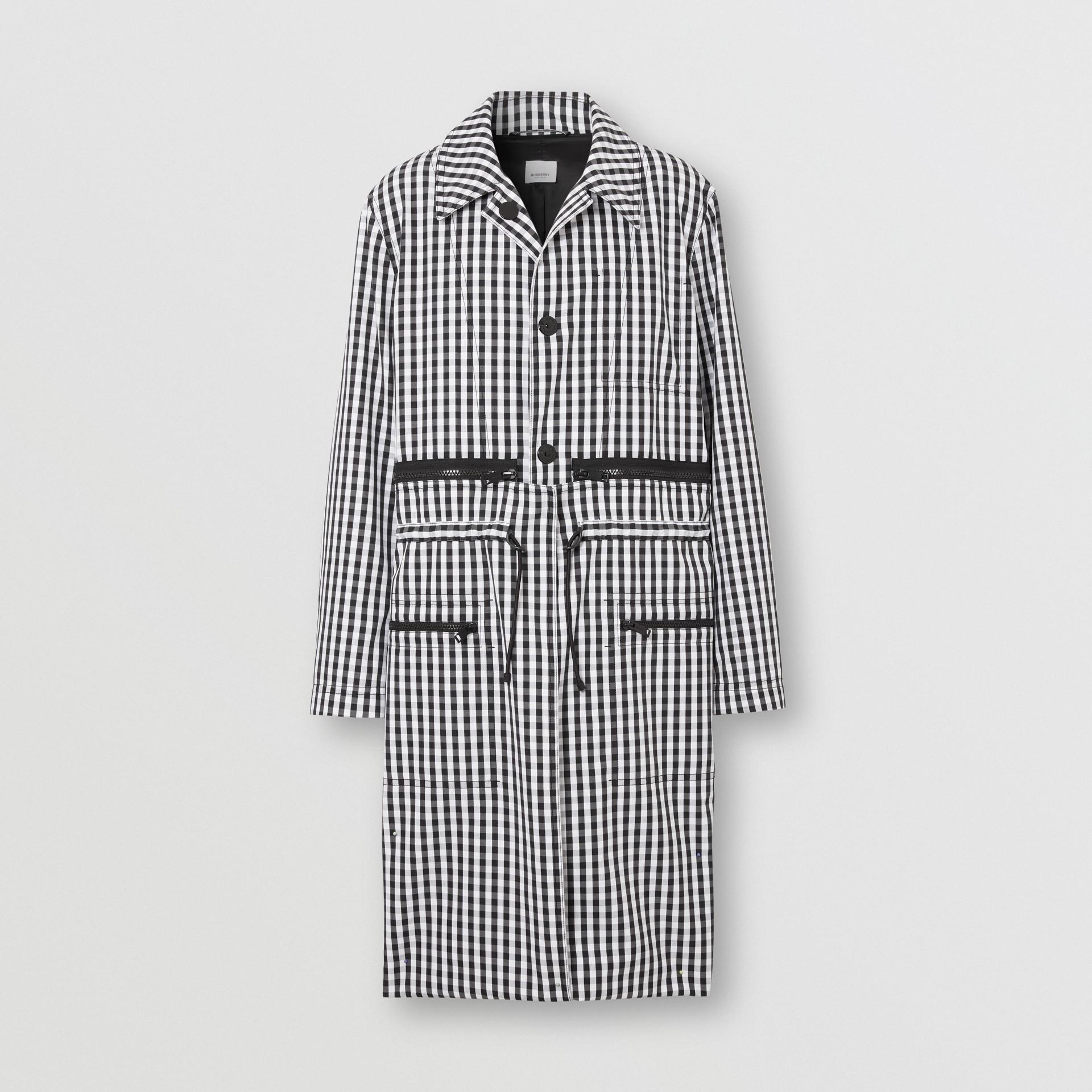 Gingham Technical Wool Loop-back Car Coat in Black | Burberry Canada - gallery image 3