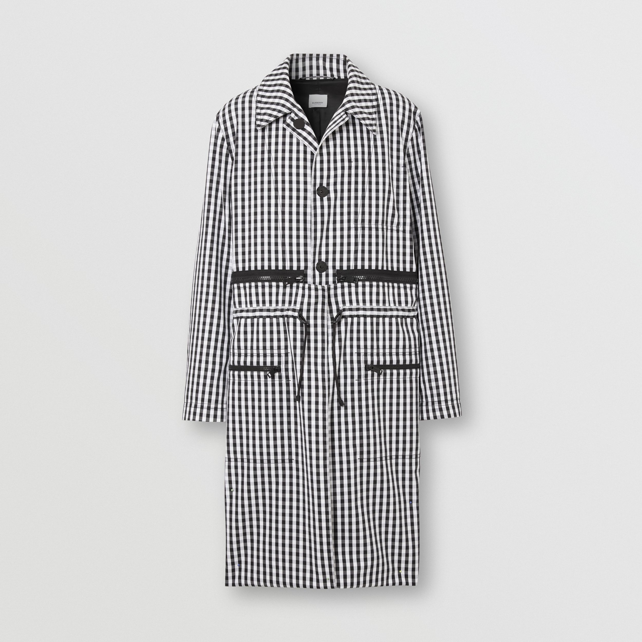 Gingham Technical Wool Loop-back Car Coat in Black - Men | Burberry Hong Kong S.A.R. - 4