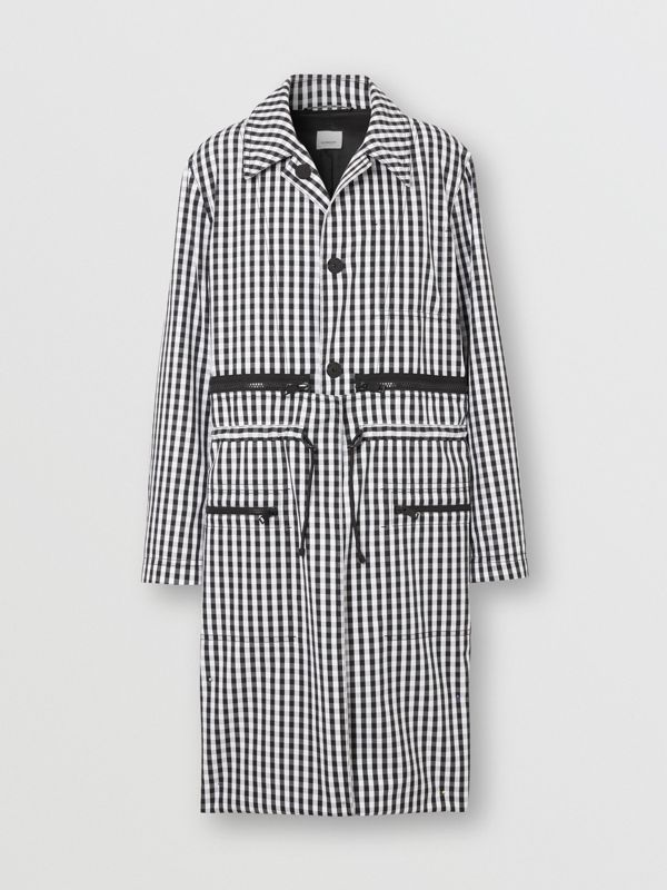 Gingham Technical Wool Loop-back Car Coat in Black | Burberry - cell image 3