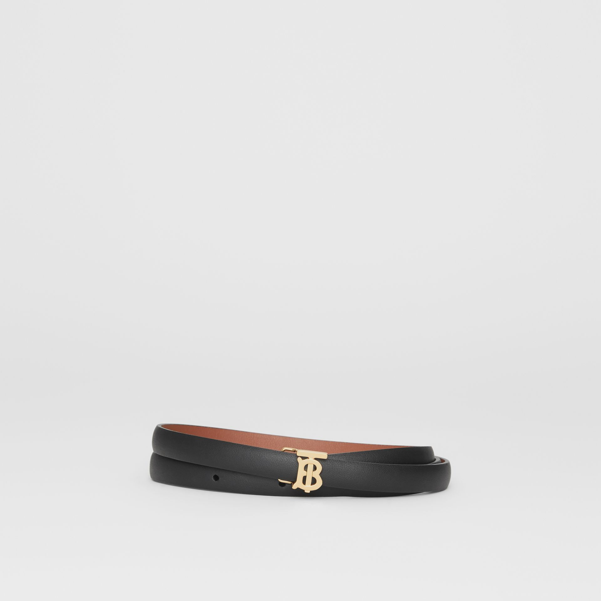Reversible Monogram Motif Leather Wrap Belt in Black/malt Brown - Women | Burberry - gallery image 0