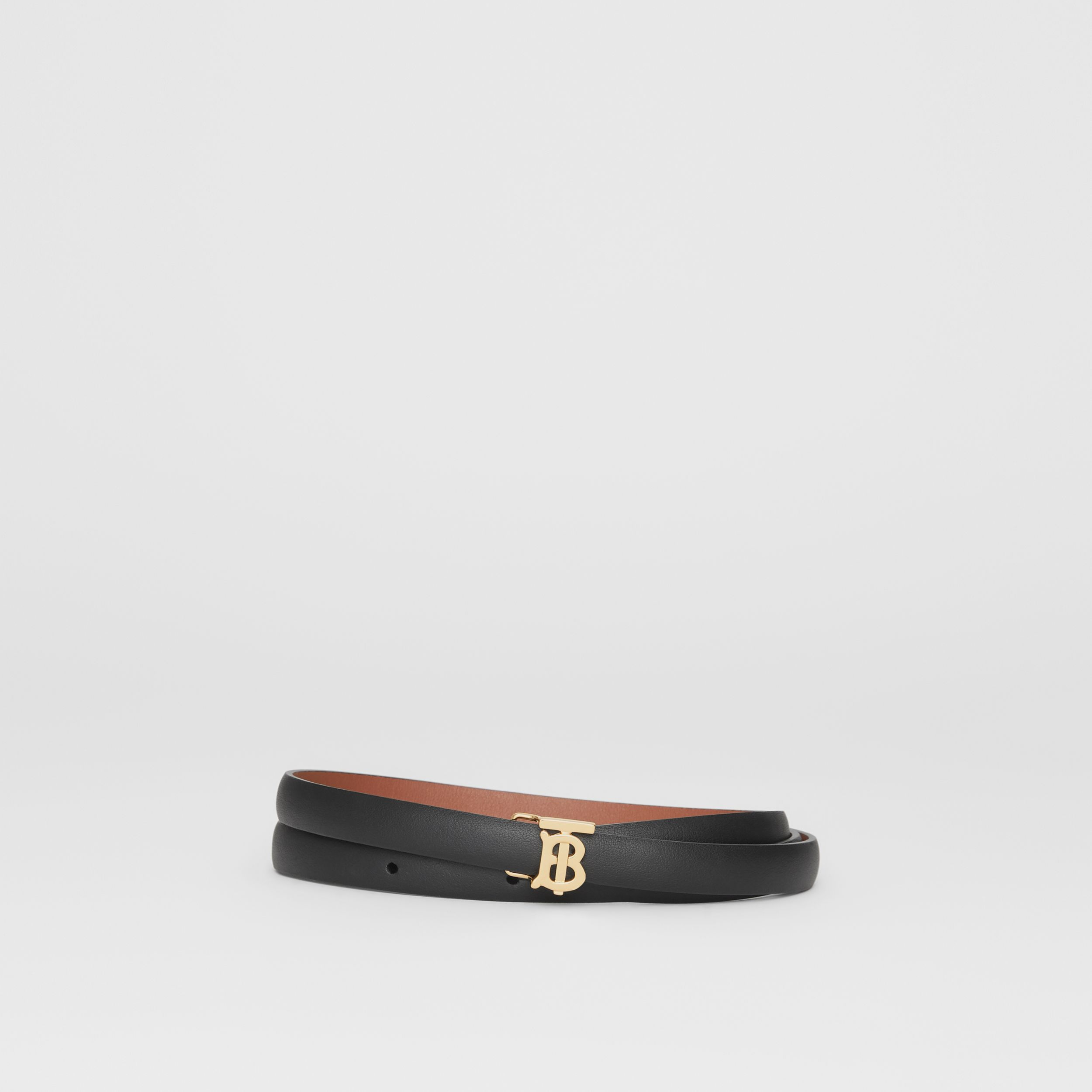 Reversible Monogram Motif Leather Wrap Belt in Black/malt Brown - Women | Burberry - 1