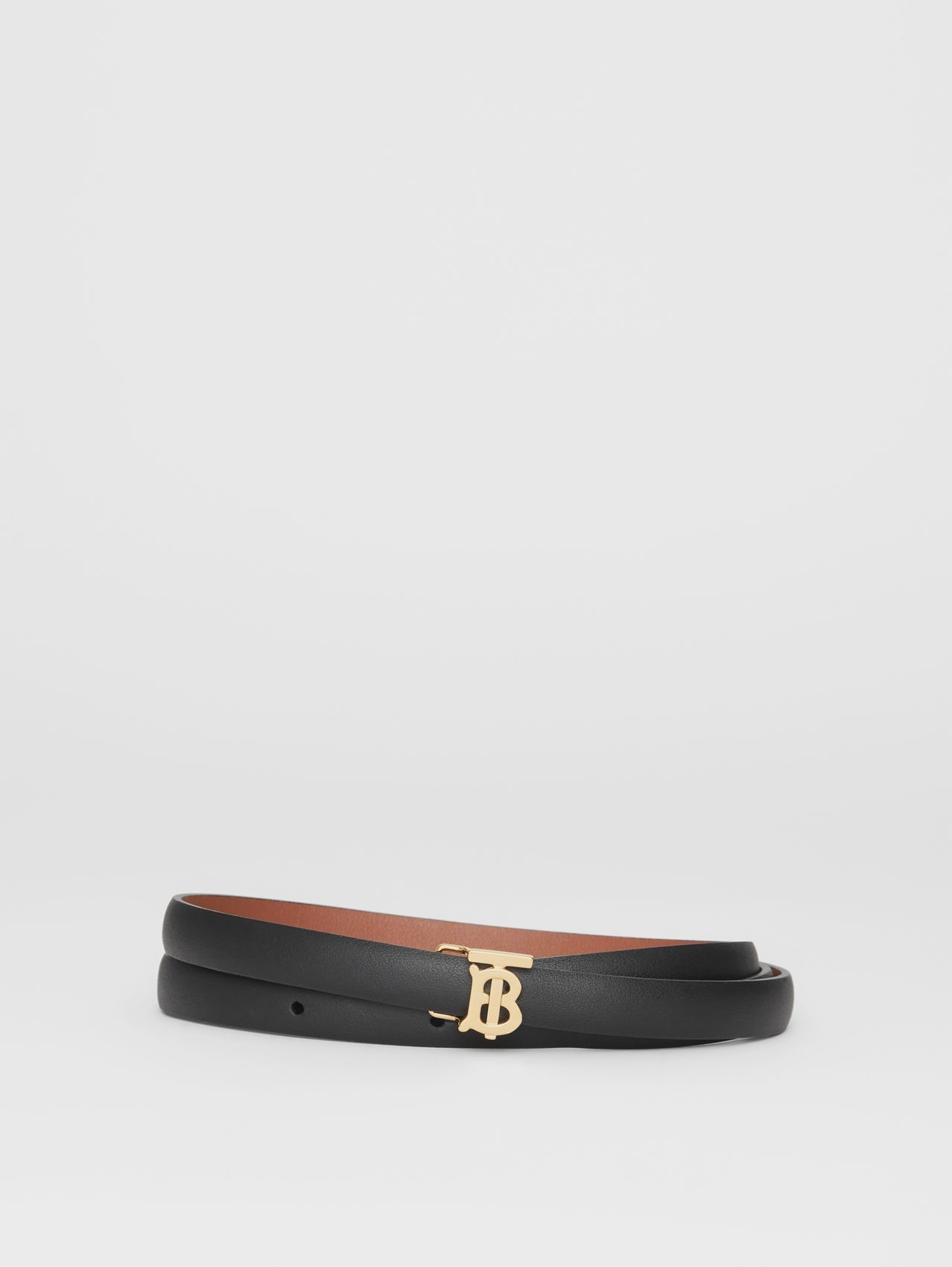 Reversible Monogram Motif Leather Wrap Belt in Black/malt Brown