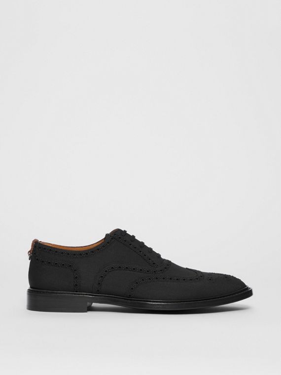 Studded Mohair Wool Brogues in Black