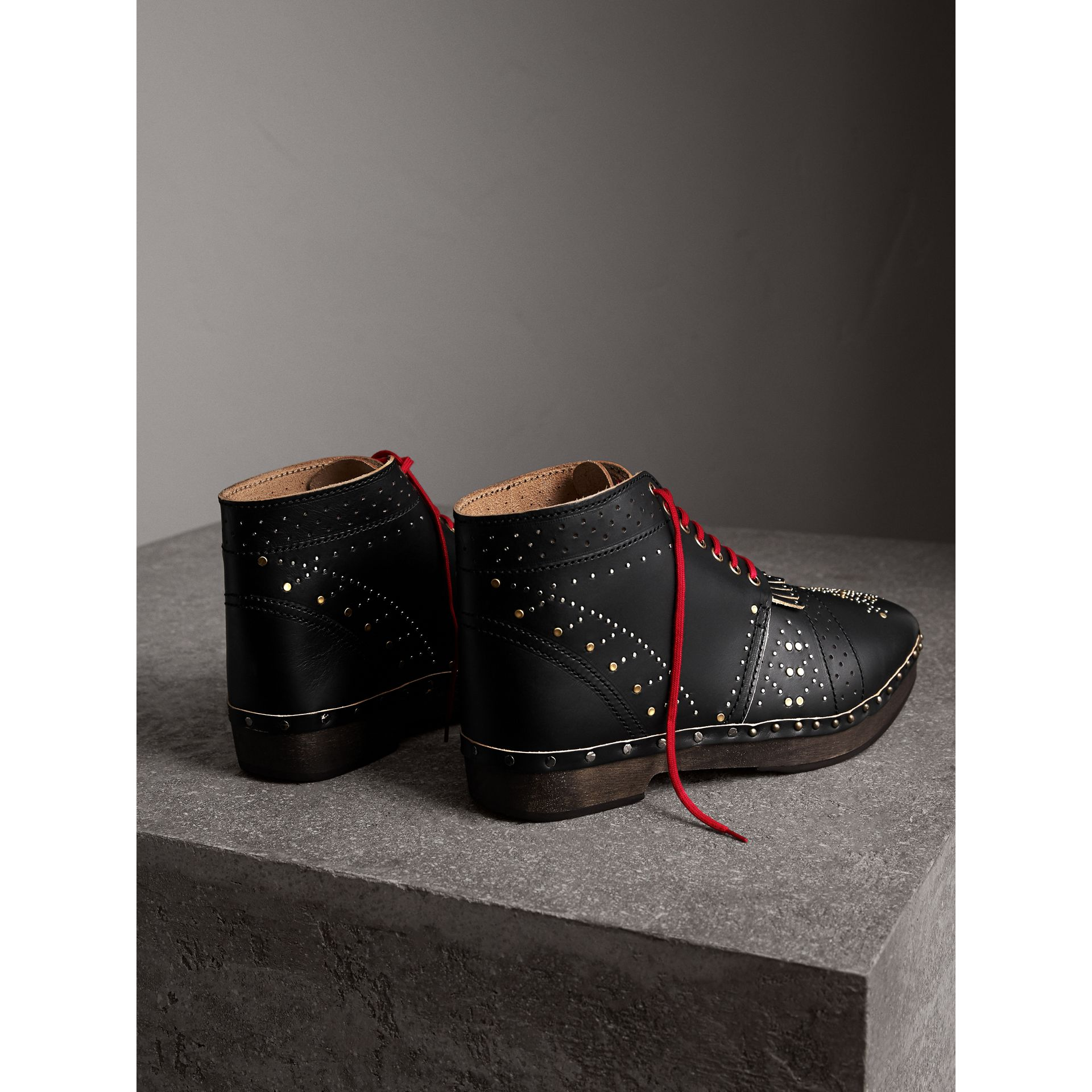 Riveted Leather Clog Boots in Black - Men | Burberry - gallery image 3