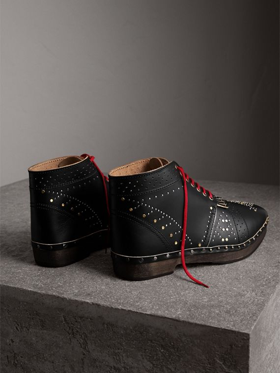 Riveted Leather Clog Boots in Black - Men | Burberry - cell image 3