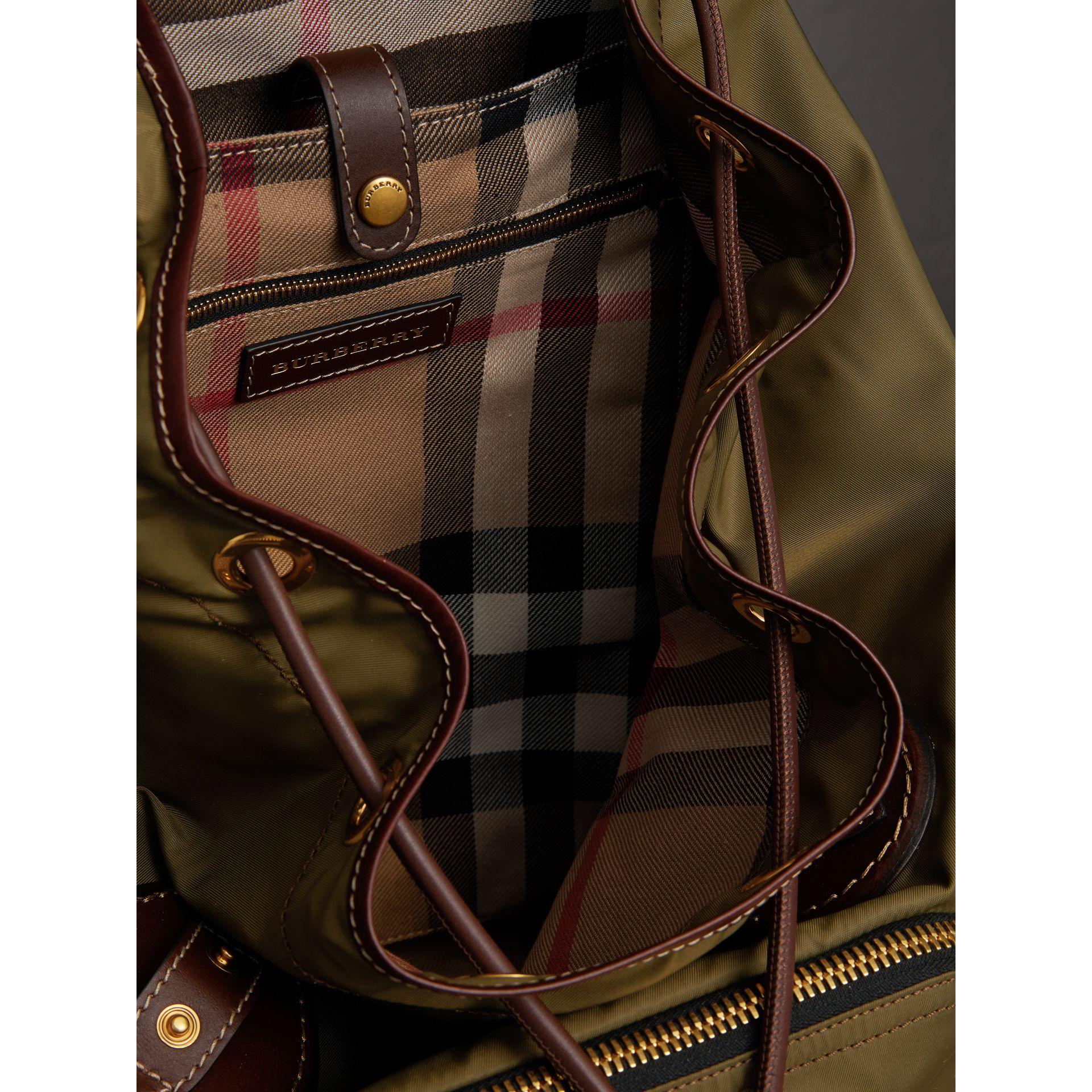 The Large Rucksack in Technical Nylon and Topstitched Leather in Dark Antique Green | Burberry - gallery image 3