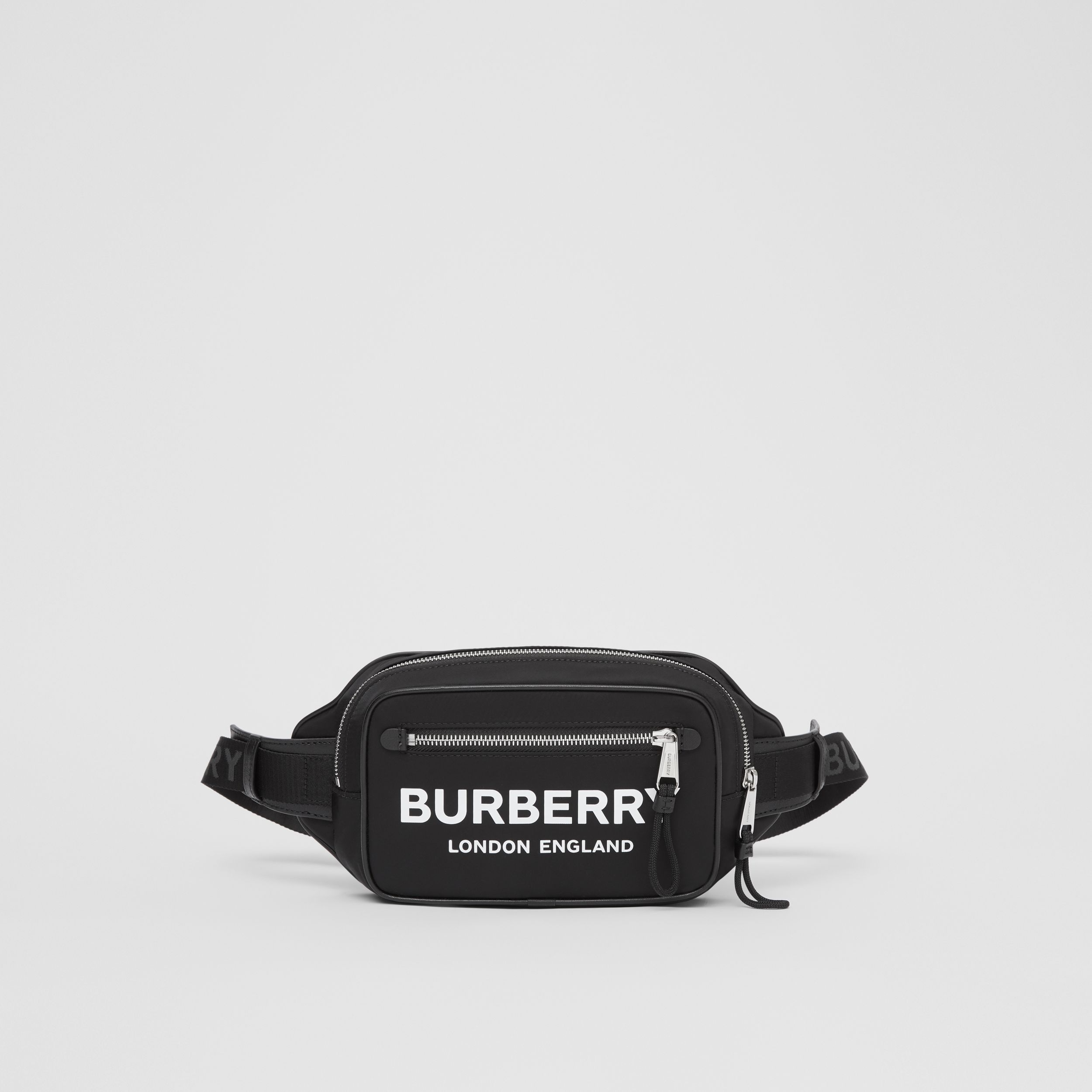 Logo Print ECONYL® Bum Bag in Black - Men | Burberry - 1