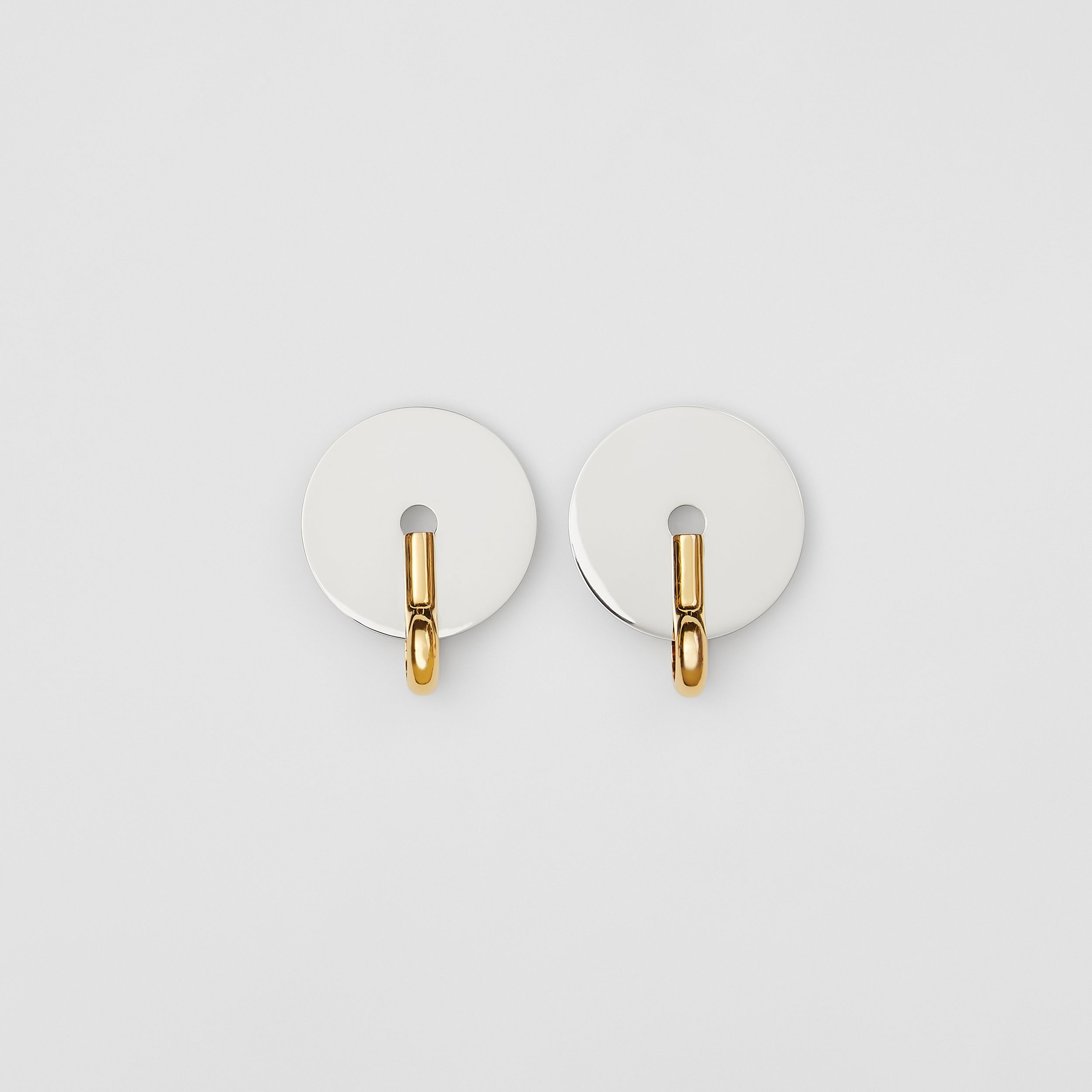 Palladium and Gold-plated Disc Earrings in Palladium/light - Women | Burberry - 1