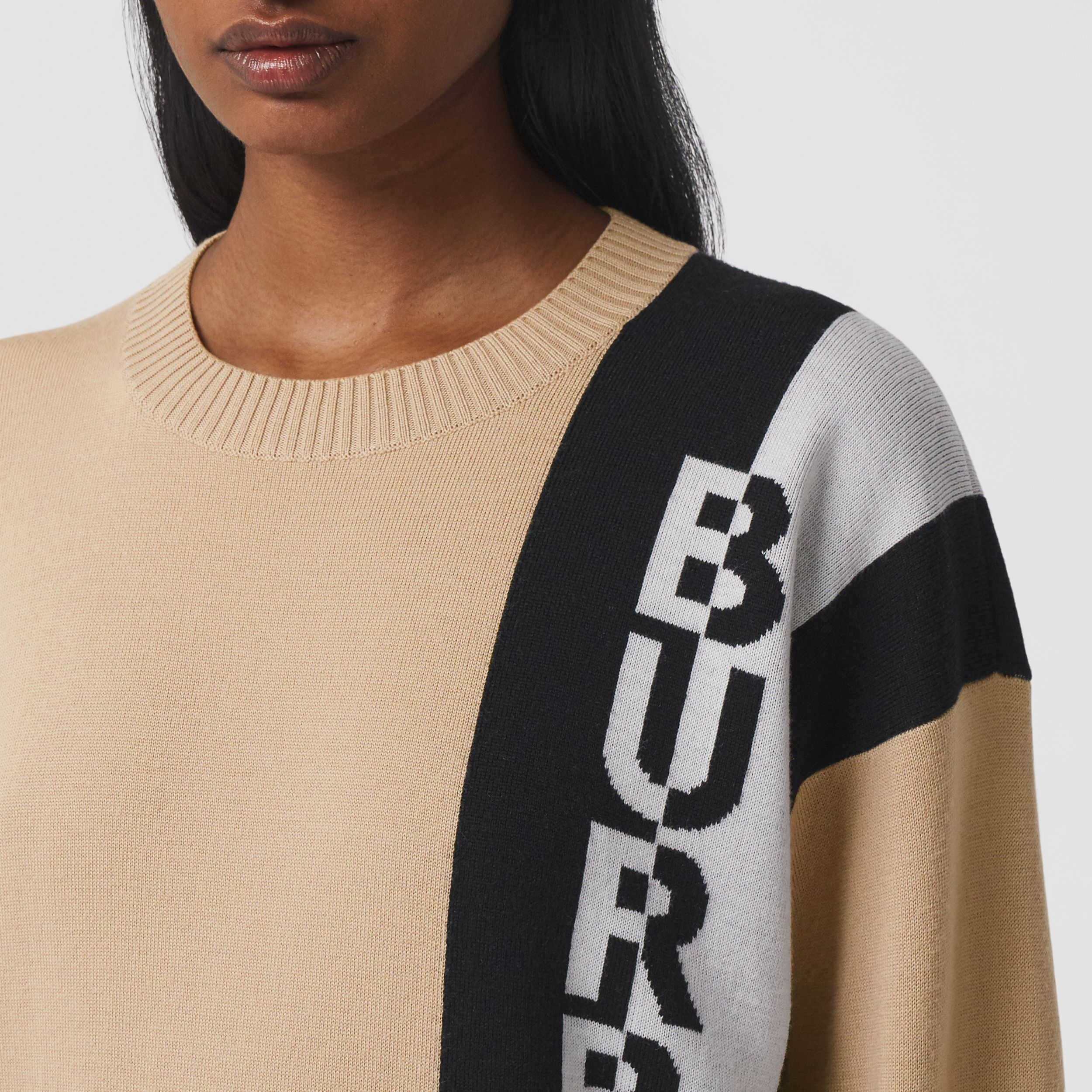 Logo Merino Wool Blend Jacquard Sweater in Soft Fawn - Women | Burberry - 2