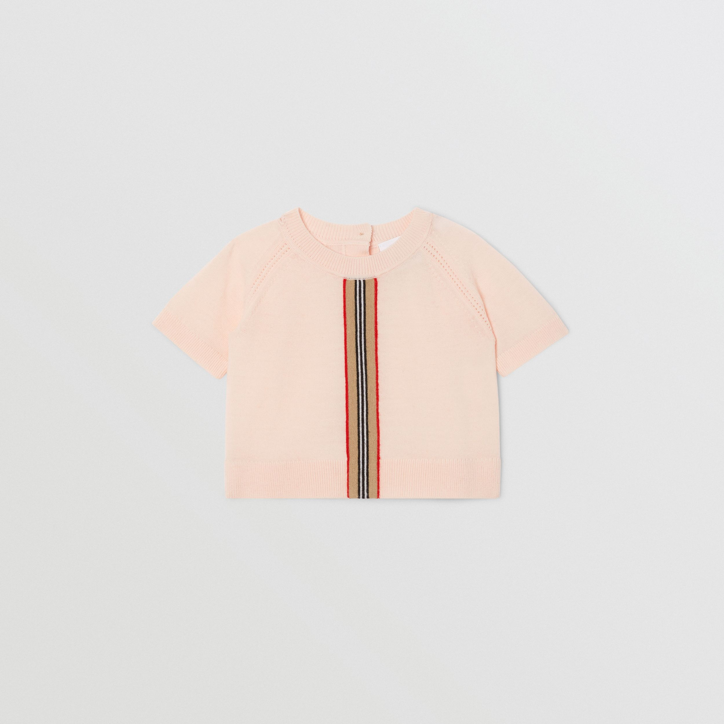 Icon Stripe Trim Merino Wool Two-piece Set in Soft Pink - Children | Burberry - 3