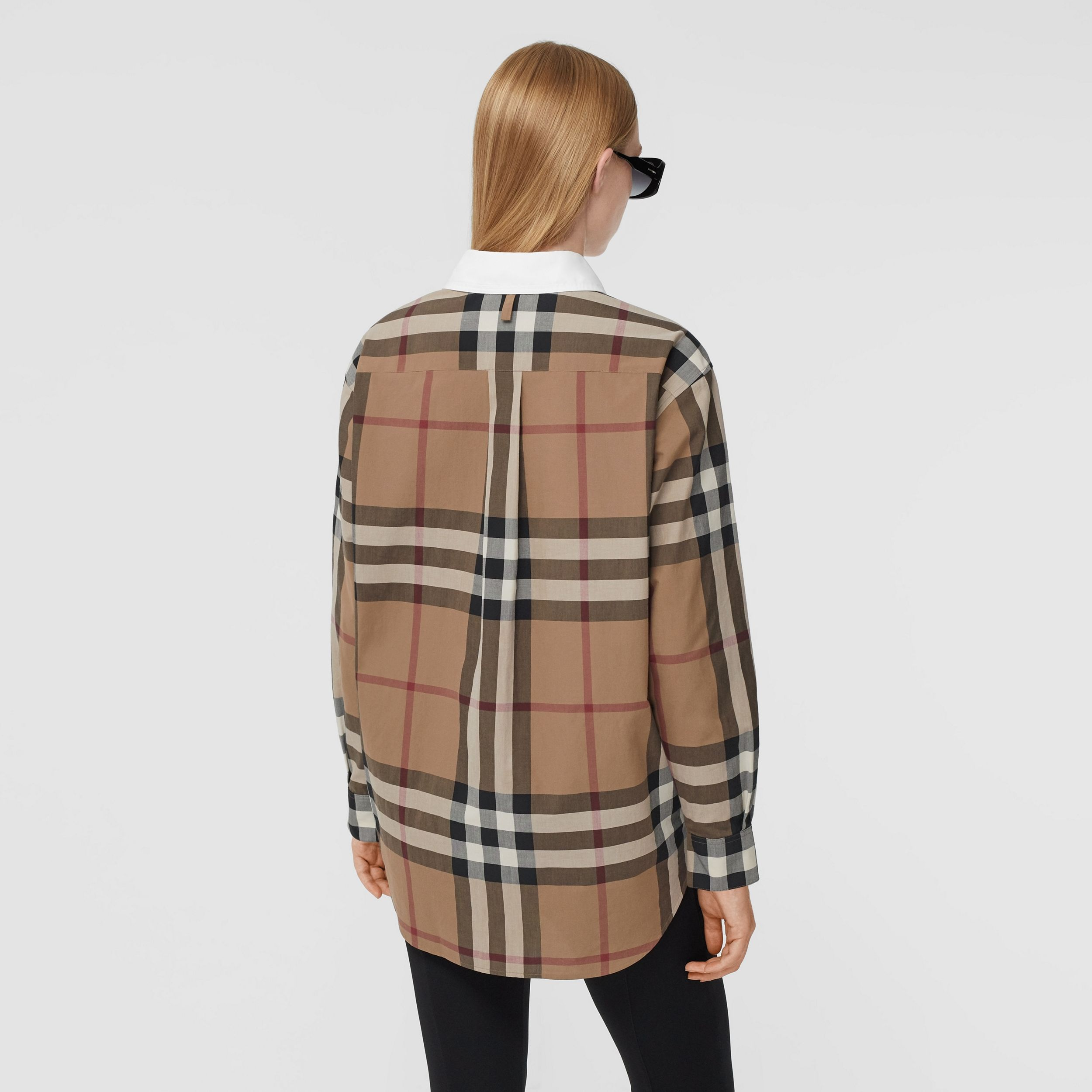 Check Cotton Poplin Oversized Shirt in Birch Brown - Women | Burberry Canada - 3