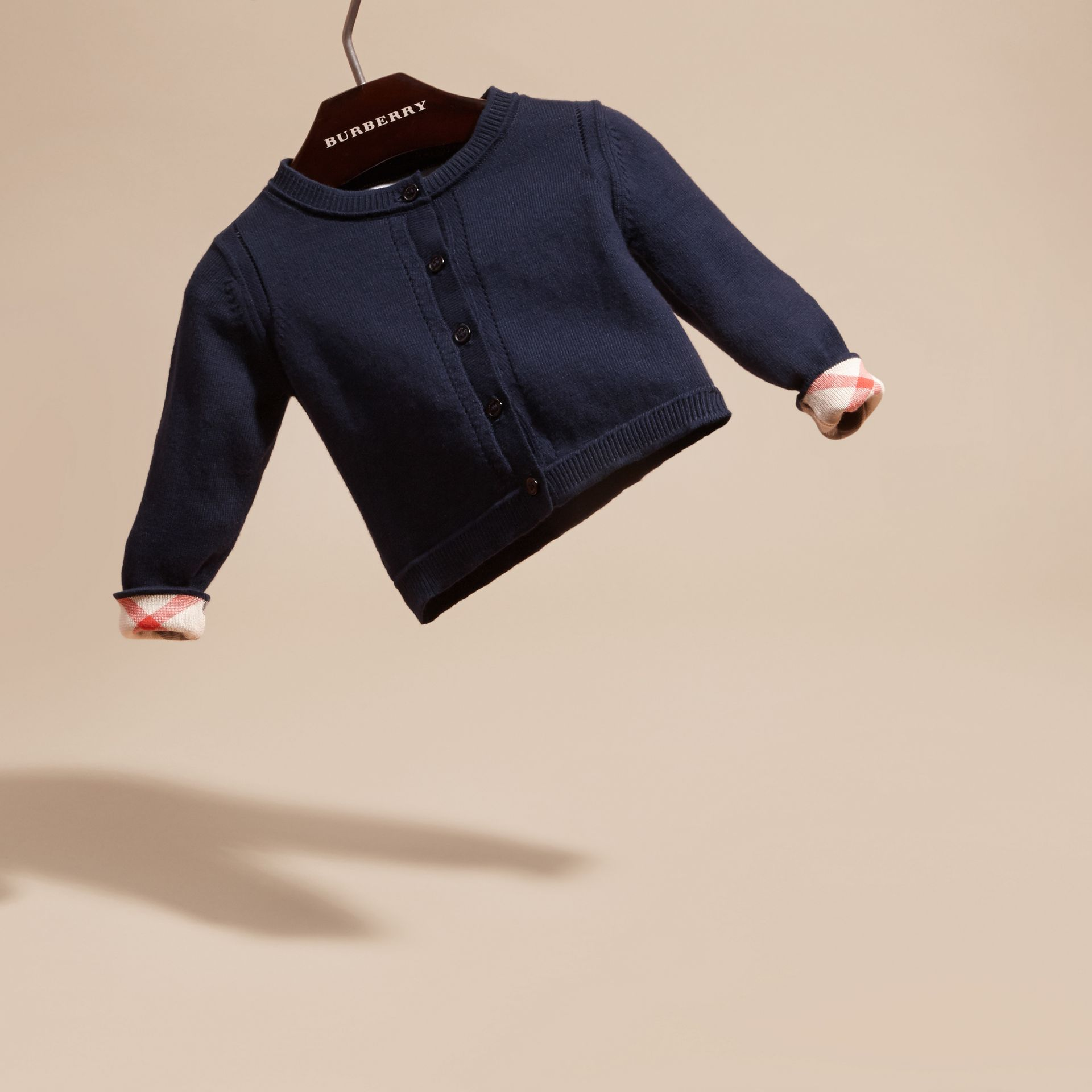 Check Cuff Cotton Cardigan in Navy | Burberry - gallery image 3