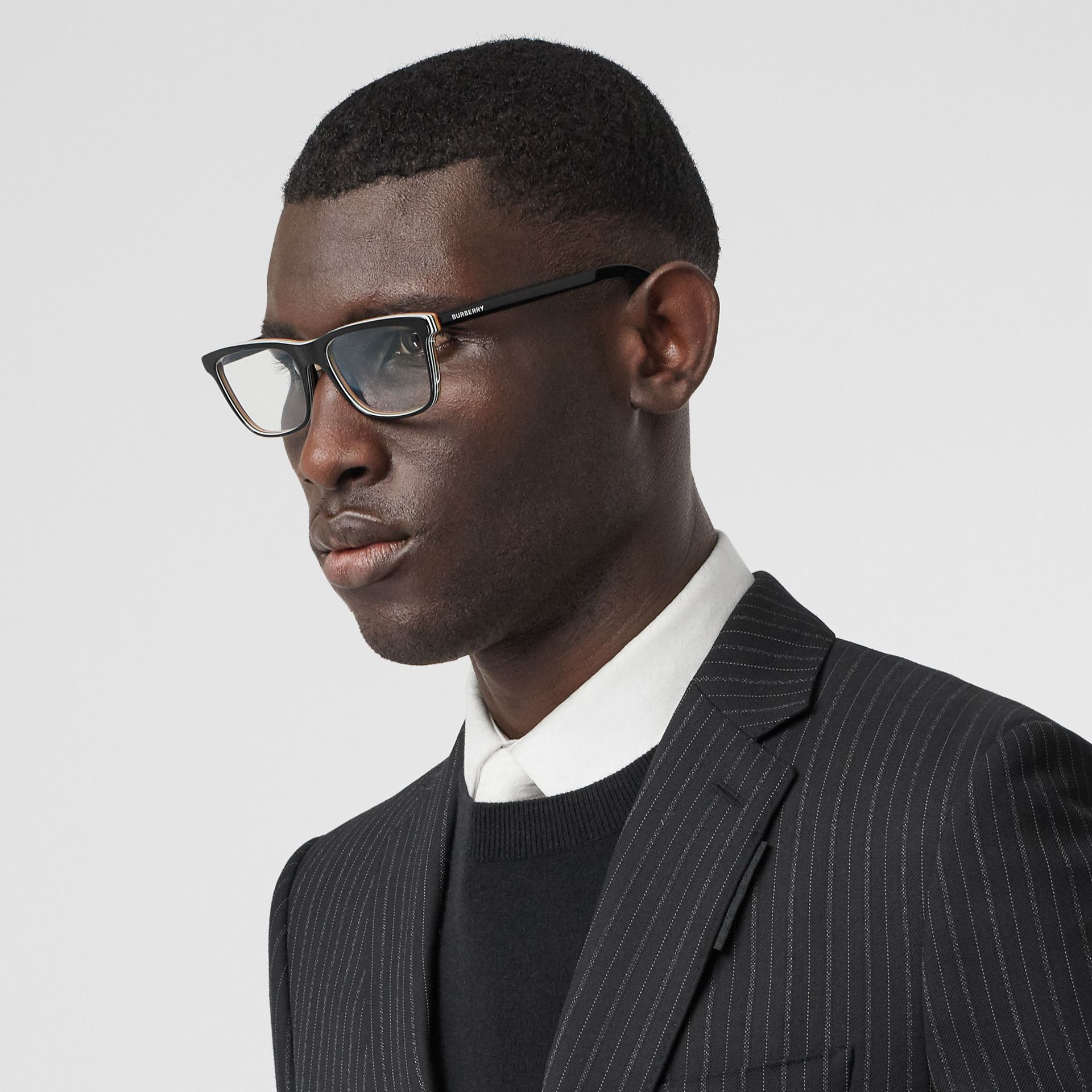 Icon Stripe Detail Rectangular Optical Frames in Black - Men | Burberry - gallery image 2