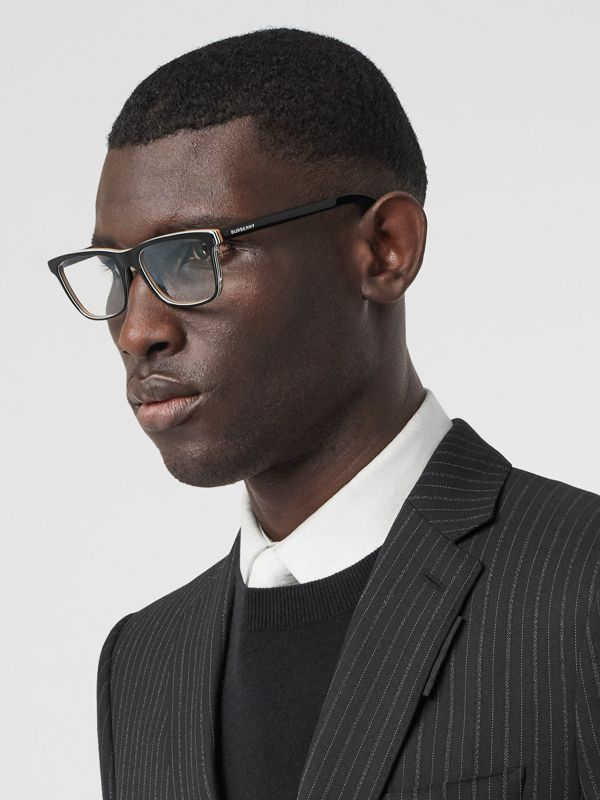 Icon Stripe Detail Rectangular Optical Frames in Black - Men | Burberry - cell image 2