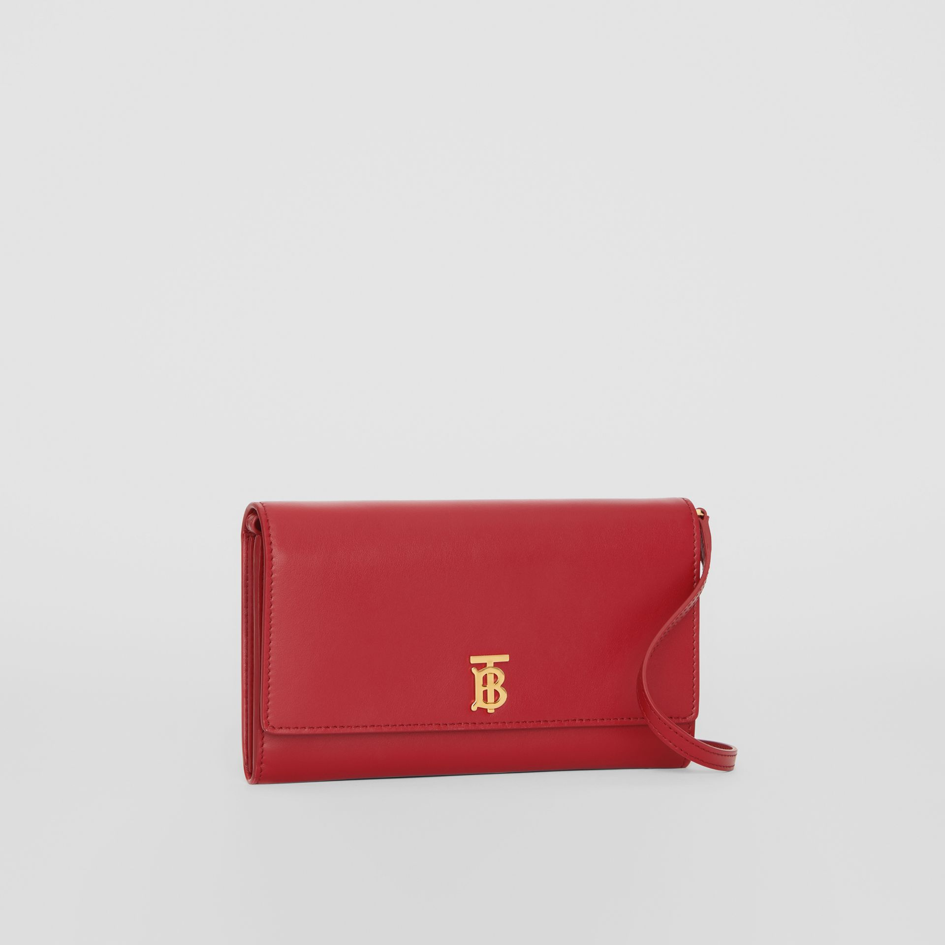 Monogram Motif Leather Wallet with Detachable Strap in Crimson - Women | Burberry - gallery image 6