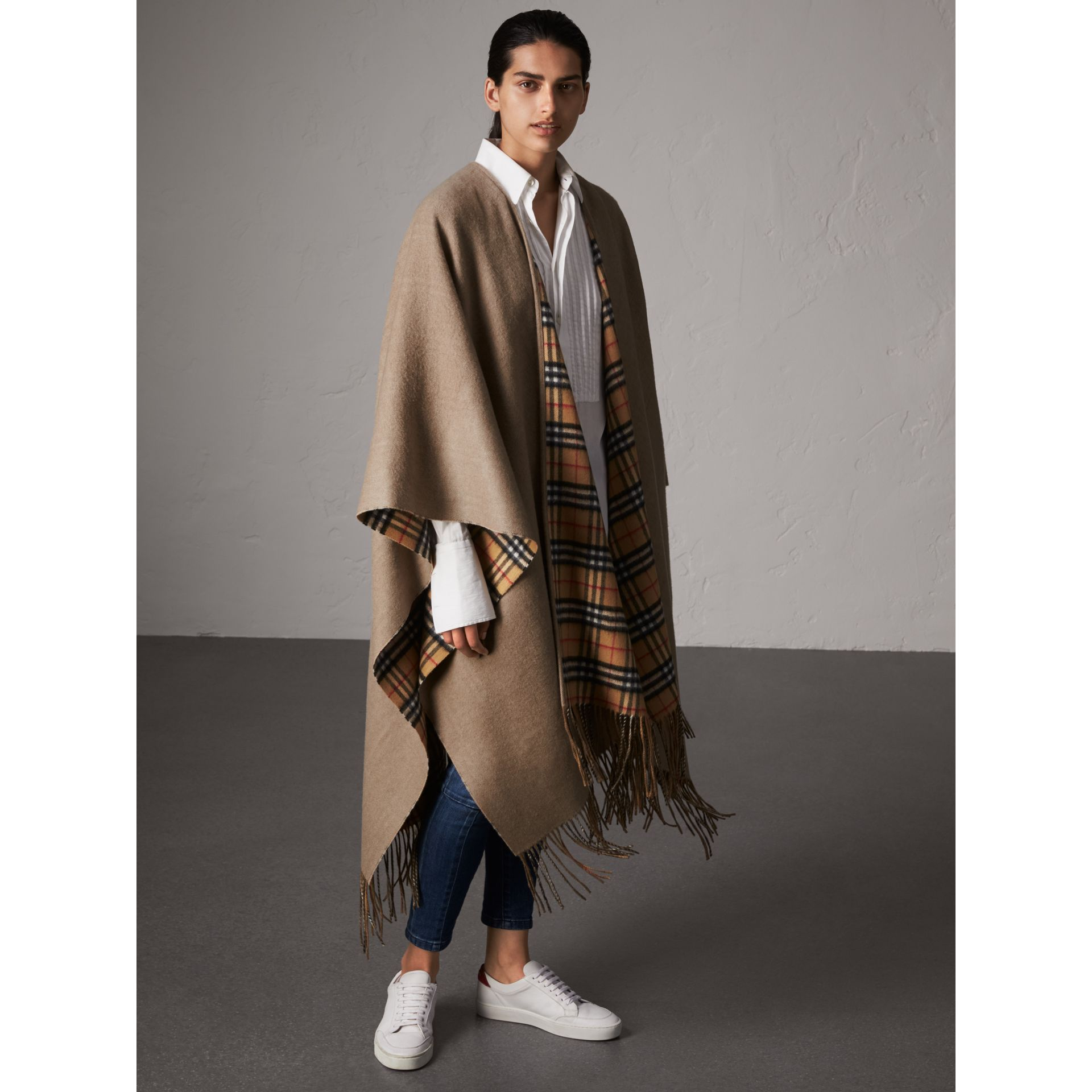 Reversible Vintage Check Cashmere Wool Poncho in Sandstone - Women | Burberry - gallery image 0