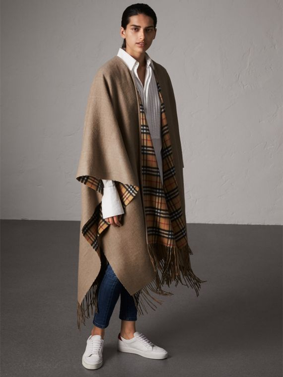 Reversible Vintage Check Cashmere Wool Poncho in Sandstone
