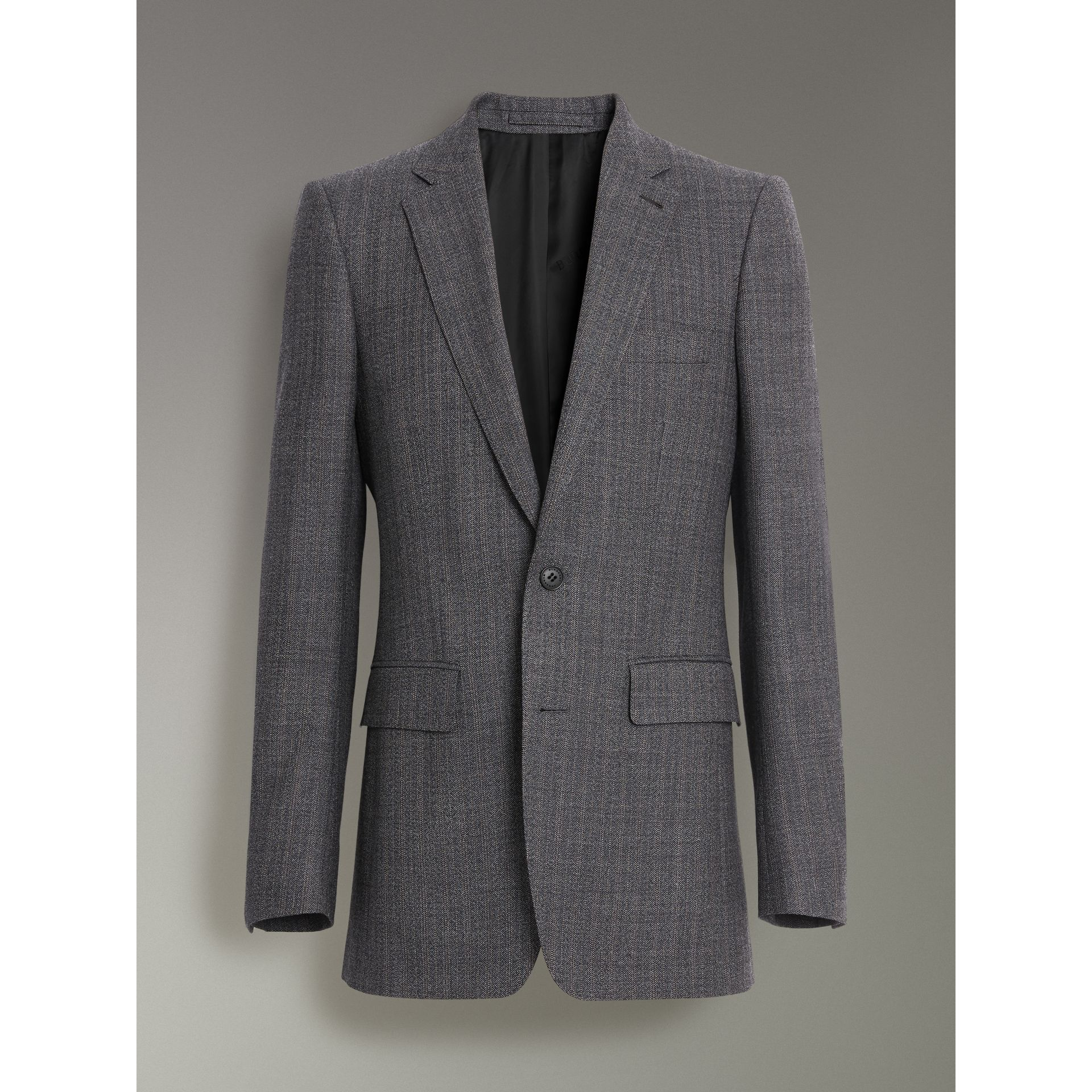 Slim Fit English Pinstripe Wool Suit in Mid Grey Melange - Men | Burberry Canada - gallery image 3
