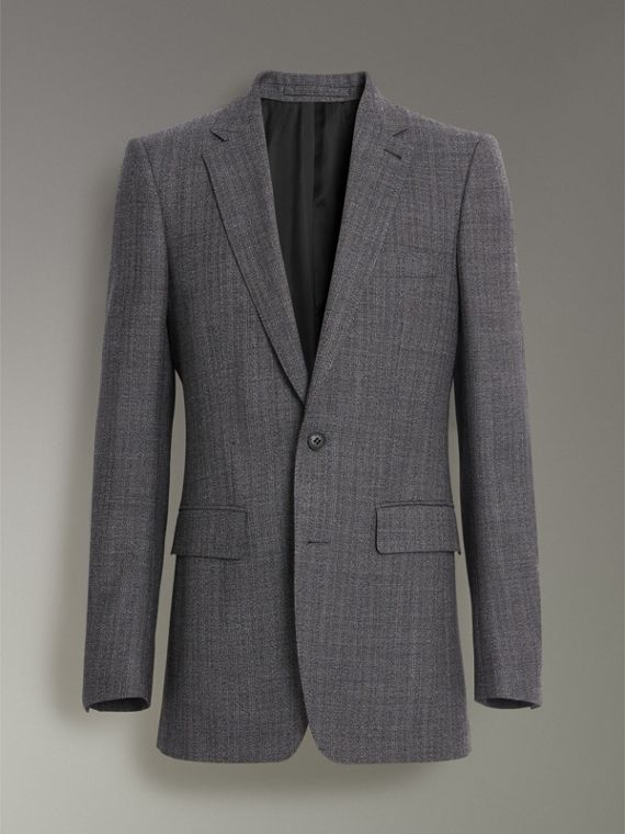 Slim Fit English Pinstripe Wool Suit in Mid Grey Melange - Men | Burberry - cell image 3