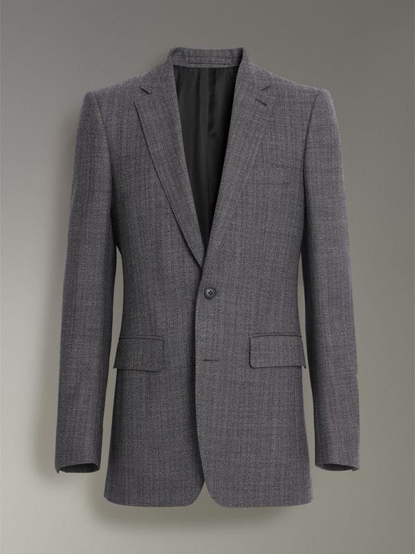 Slim Fit English Pinstripe Wool Suit in Mid Grey Melange - Men | Burberry Canada - cell image 3