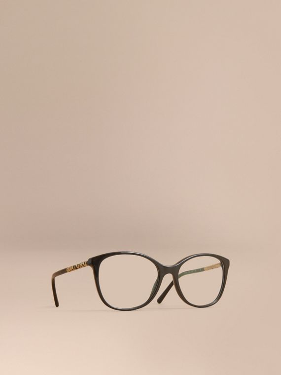 Check Detail Round Optical Frames Black