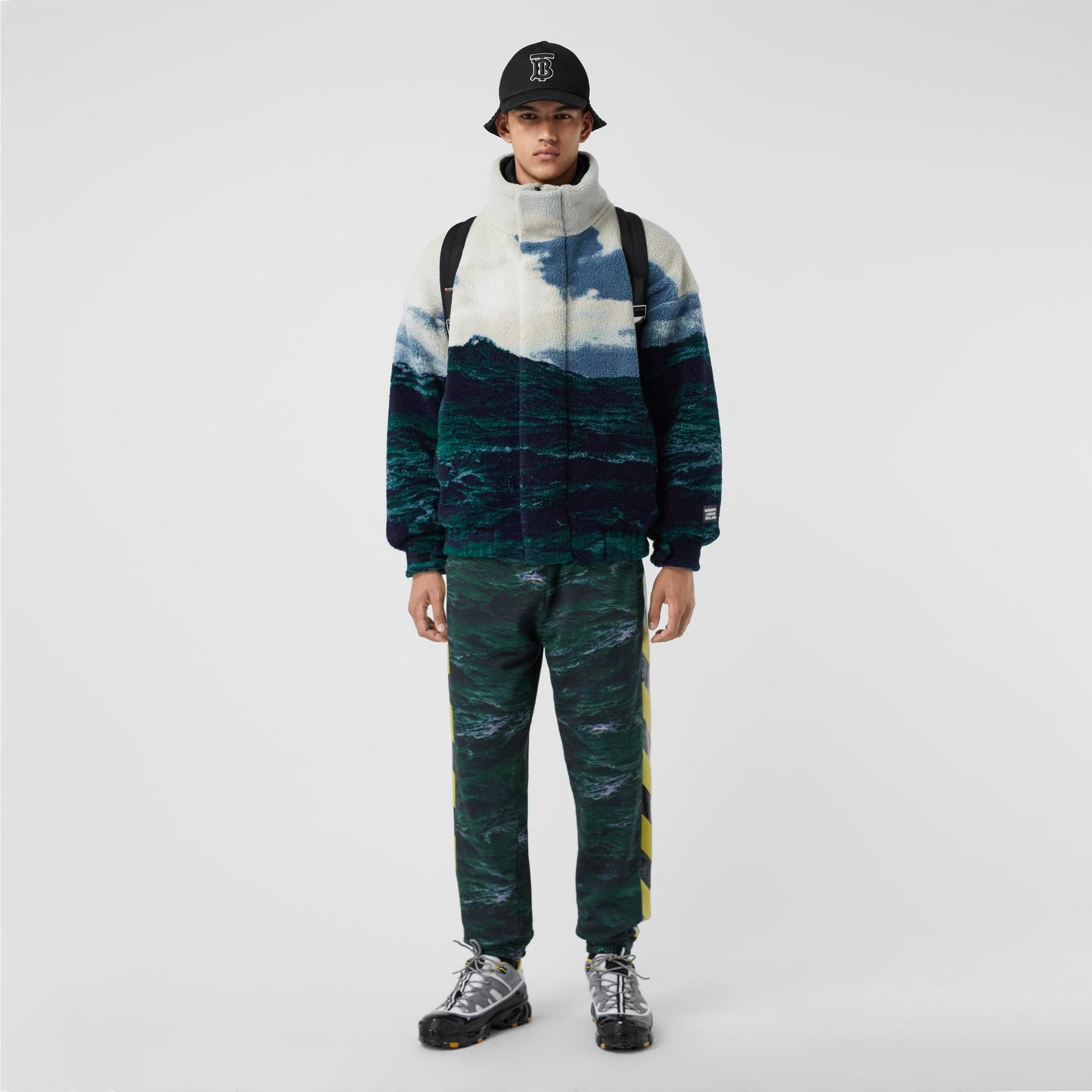 Sea Print Fleece Jacket with Detachable Warmer in Deep Teal - Men | Burberry - gallery image 0