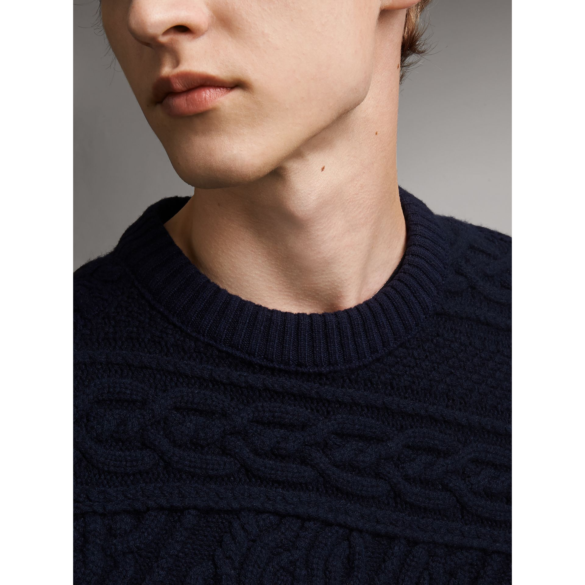 Cashmere Sweater with Cable Knit Detail - Men | Burberry - gallery image 2