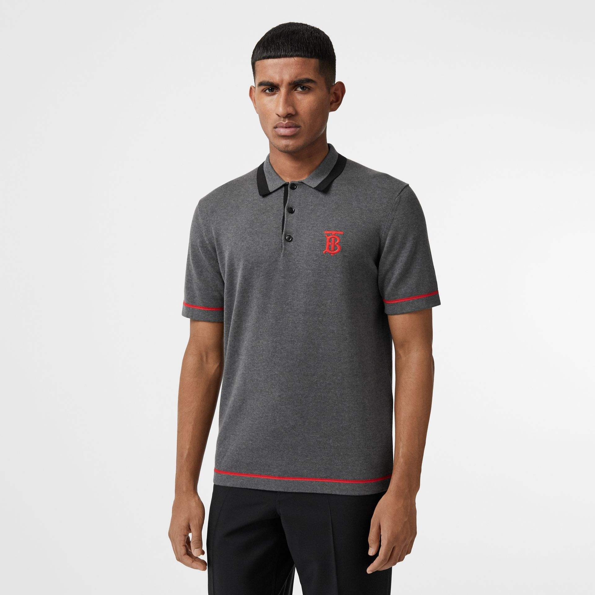 Monogram Motif Tipped Cotton Polo Shirt in Dark Grey Melange - Men | Burberry - gallery image 4