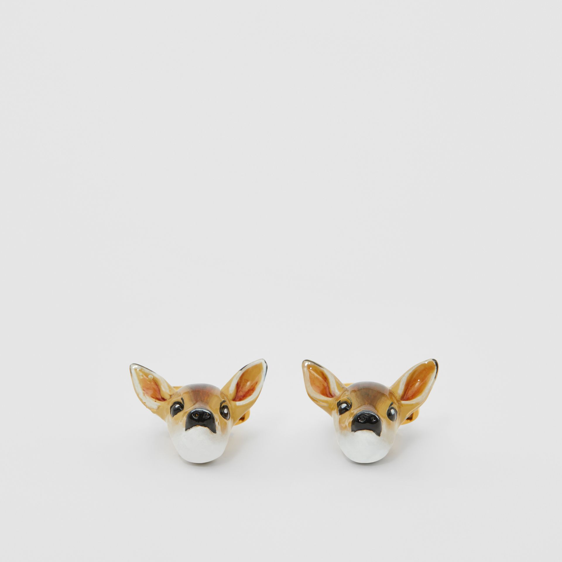 Deer Motif Gold-plated Cufflinks in Brown/white - Men | Burberry United Kingdom - gallery image 0