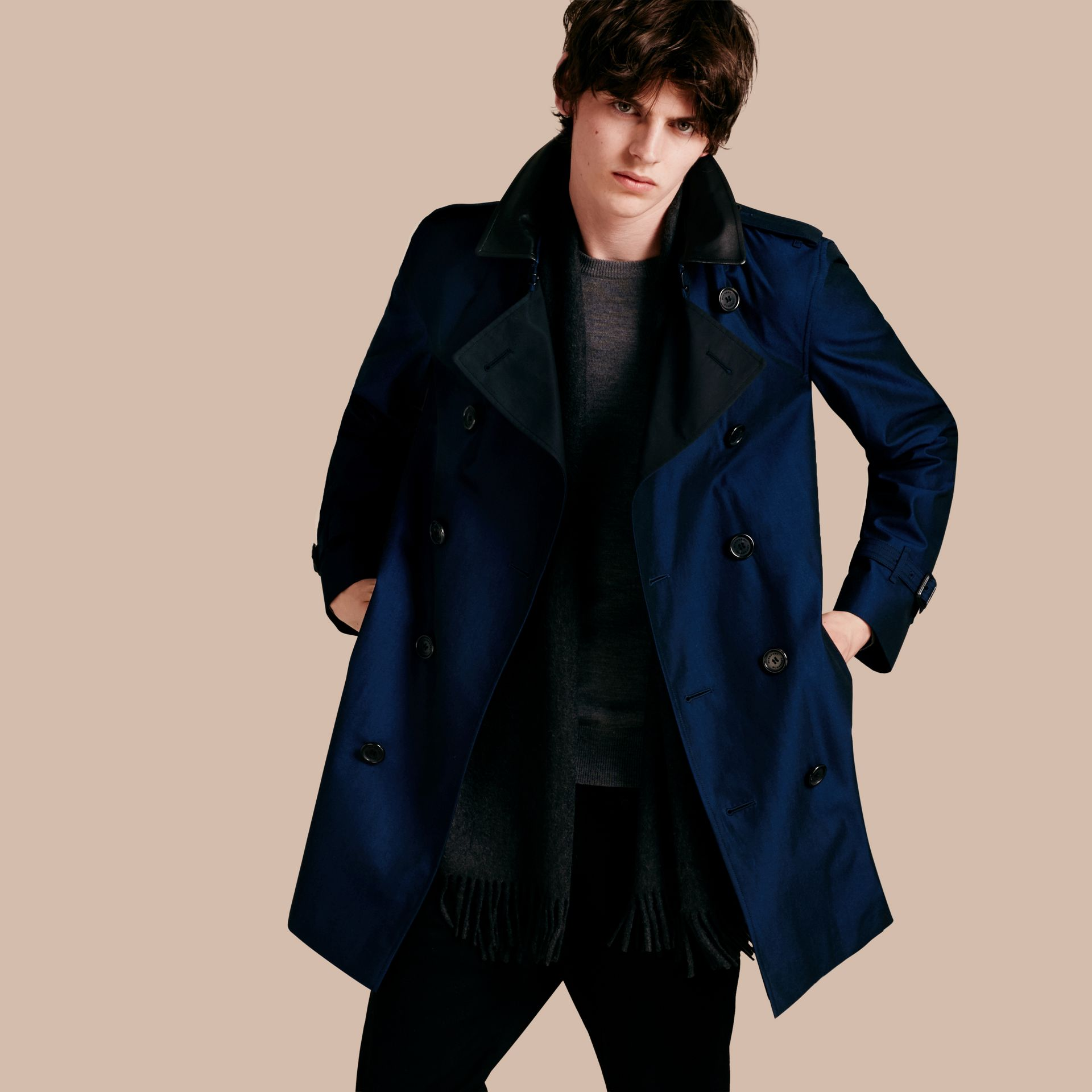 Bright regency blue Cotton Gabardine Trench Coat with Lambskin Topcollar - gallery image 1