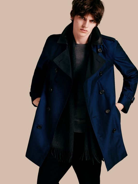 Cotton Gabardine Trench Coat with Lambskin Topcollar