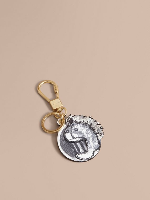 Pallas Heads Motif Leather and Snakeskin Key Ring