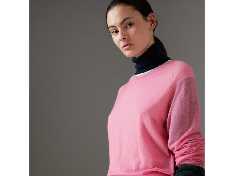 Open-stitch Detail Cashmere Sweater in Dusky Pink - Women | Burberry - cell image 4
