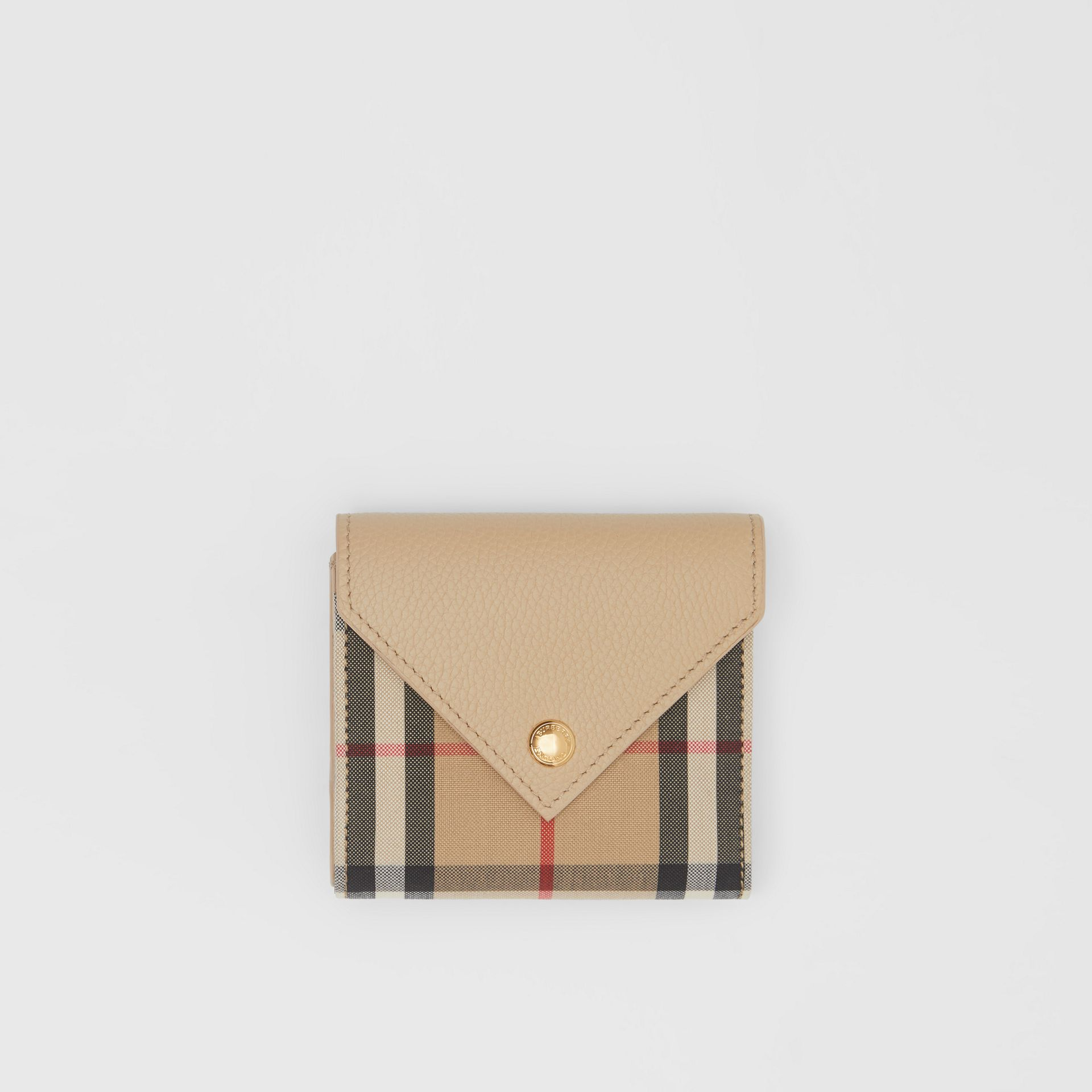 Vintage Check and Grainy Leather Folding Wallet in Light Beige - Women | Burberry Hong Kong S.A.R - gallery image 0