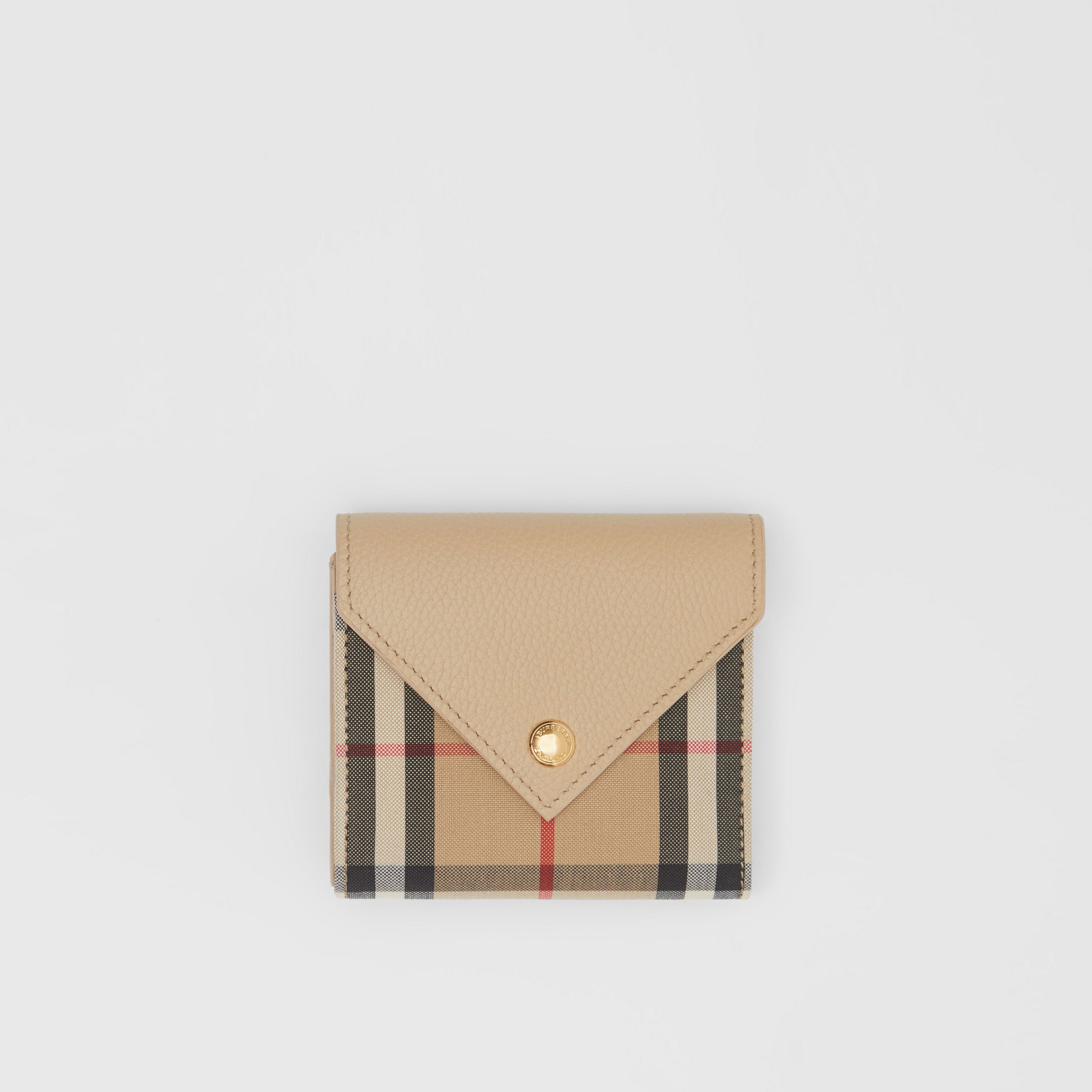 Vintage Check and Grainy Leather Folding Wallet in Light Beige - Women | Burberry - 1