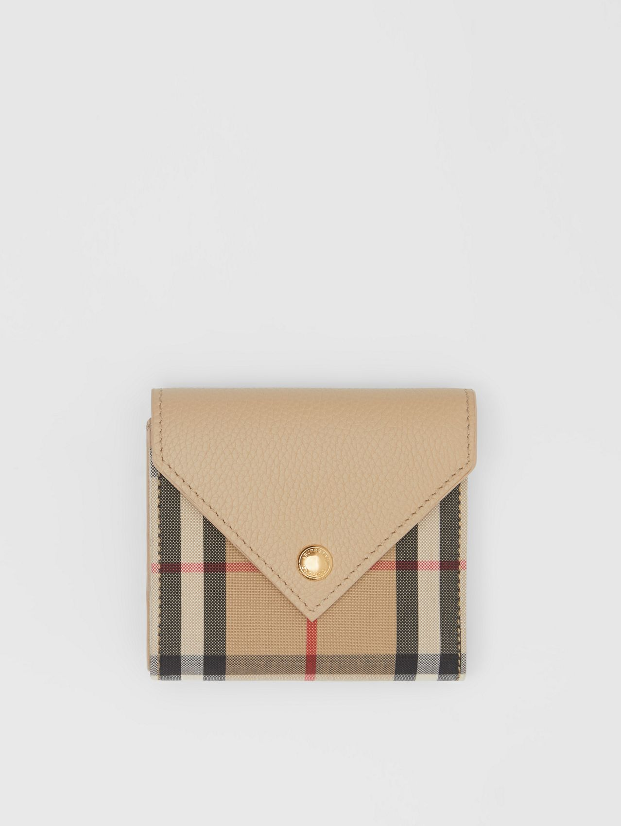 Vintage Check and Grainy Leather Folding Wallet in Light Beige