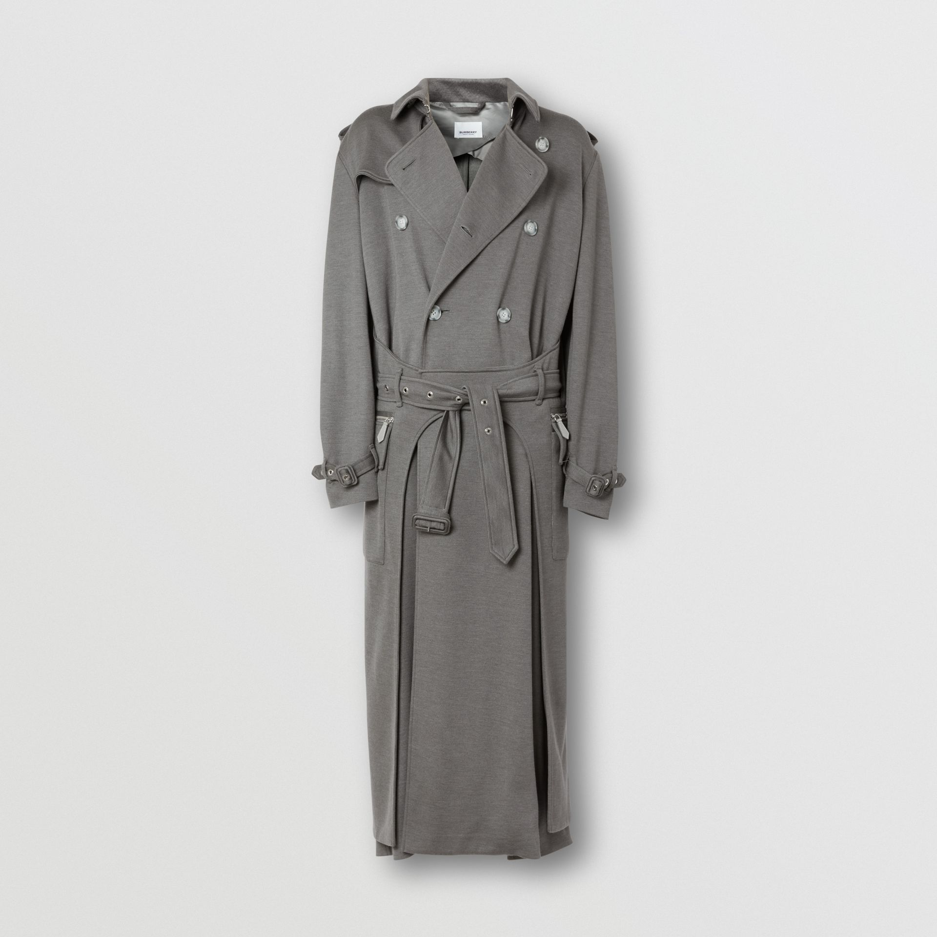 Cargo Pocket Detail Cashmere Silk Trench Coat in Cloud Grey - Men | Burberry - gallery image 3