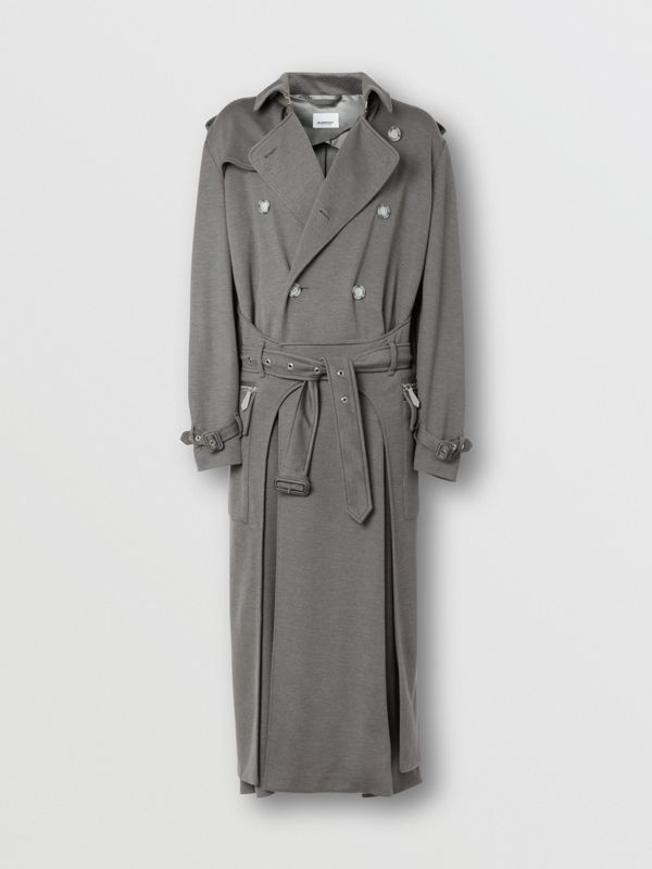 Cargo Pocket Detail Cashmere Silk Trench Coat in Cloud Grey - Men | Burberry - cell image 3